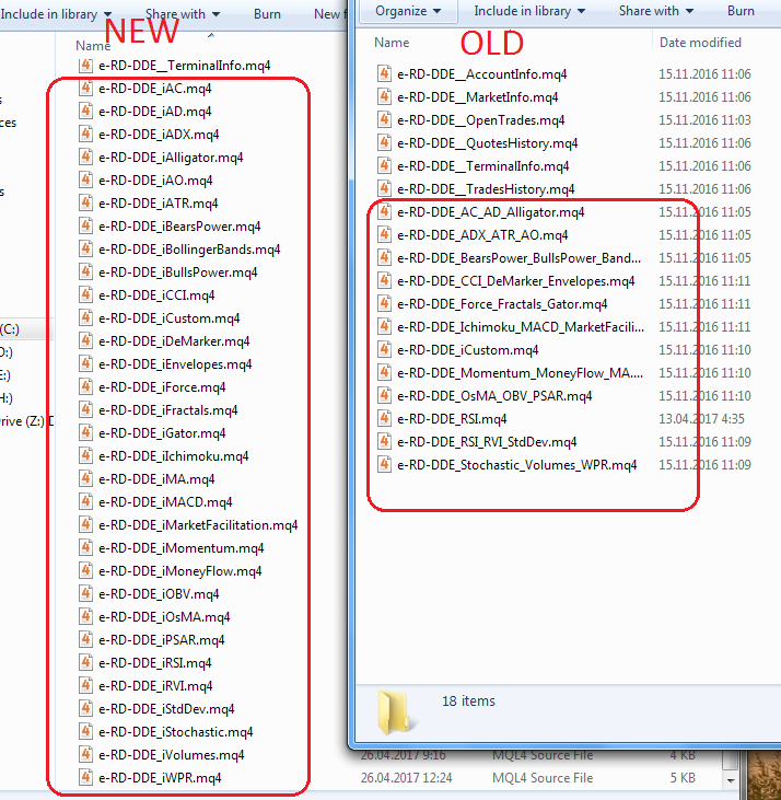 separate mq4 file exports