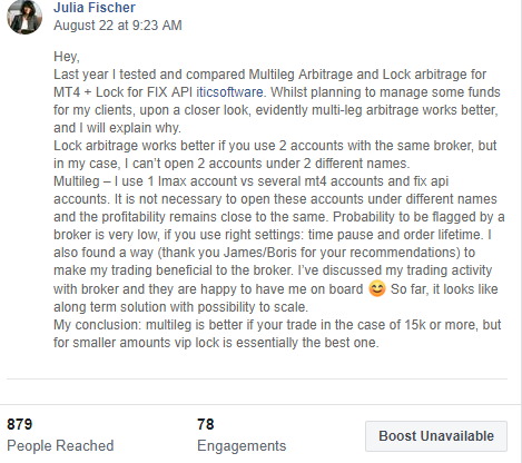 facebook post about vip hedge arbitrage